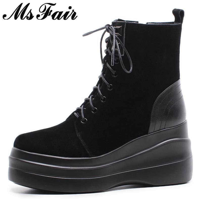 6e917861 Compre MSFAIR Botas Mujer 2018 Moda Punta Redonda Grueso Inferior Cuñas  Botines Zapatos De Mujer Con Cremallera De Encaje Hasta Negro Zapatos De  Bota Para ...