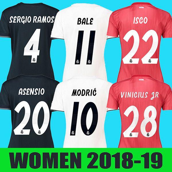 488e9adfe55e4 Mujer Real Madrid 18 19 Camiseta De Fútbol RONALDO Camiseta De Fútbol BALE  RAMOS KROOS BENZEMA LUCAS Camiseta 2018 2019 Real Madrid Niña Maillot Por  Isoccer ...