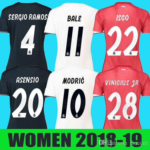81637fe40 2019 Women Real Madrid 18 19 Soccer Jersey Mariano Football Shirt BALE  RAMOS KROOS BENZEMA LUCAS Camiseta 2018 2019 Real Madrid Girl Maillot From  Isoccer