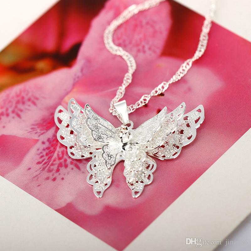 925 Sterling Silver Plated Butterfly Necklace Pendant 3 Layer Crystal Rhinestone Butterfly Collarbone Chain Choker Necklace For Women Girls