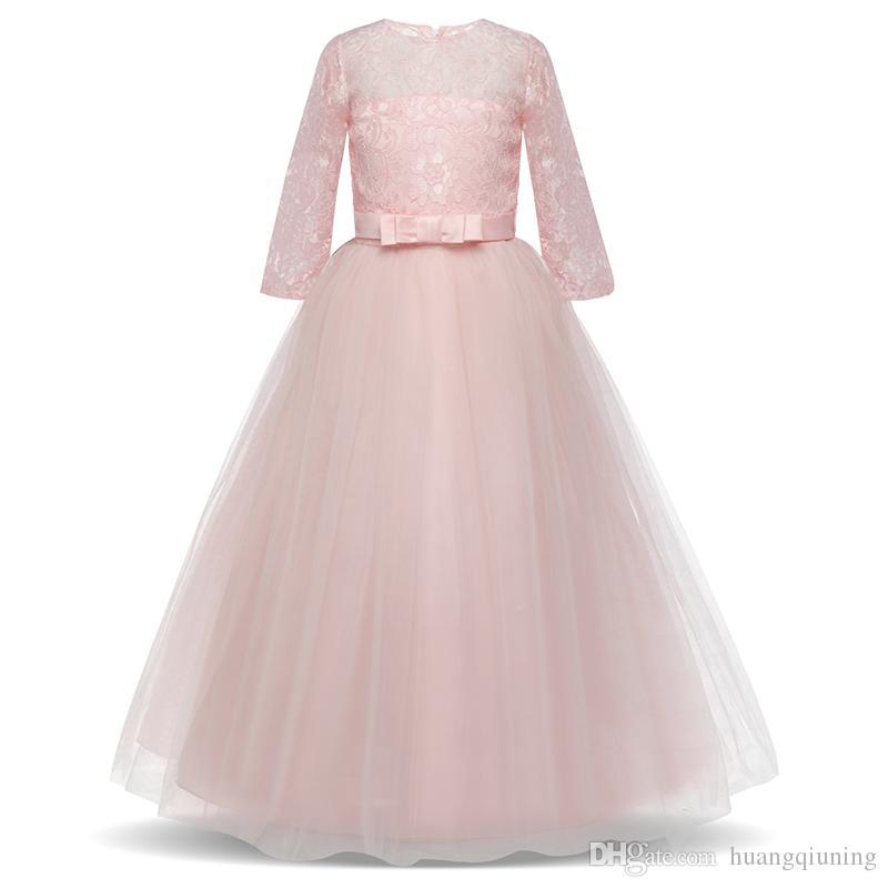 b9b9e56e8 Niños Vestidos de fiesta para niñas Vestido de princesa Niños Boda Vestido  de cumpleaños para niña 6 10 14 años Ropa Flor Chicas Traje