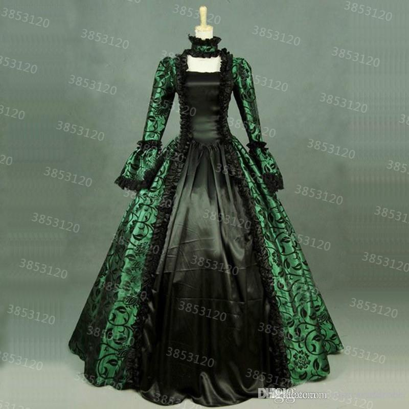 e75a2de13d89 2019 18th Century Retro Royal Court Evening Gown Party Dresses Green Floral  Print Brocade Victorian Historical Dress Ball Gown Custom From  Honestyinthebox, ...