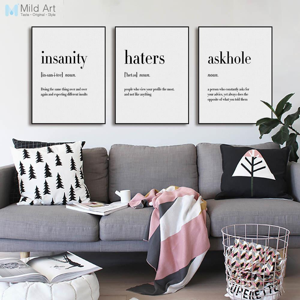 2019 Black White Minimalist Hippie Life Quotes A4 Big Poster Wall
