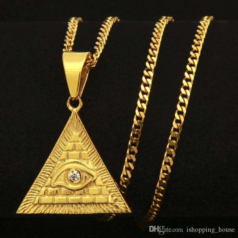 New Fashion Stainless Steel Gold Plated Austian Rhinestone Pyramid Horus Eye Triangle Pendant Necklace for Men Women Hip Hop Necklace