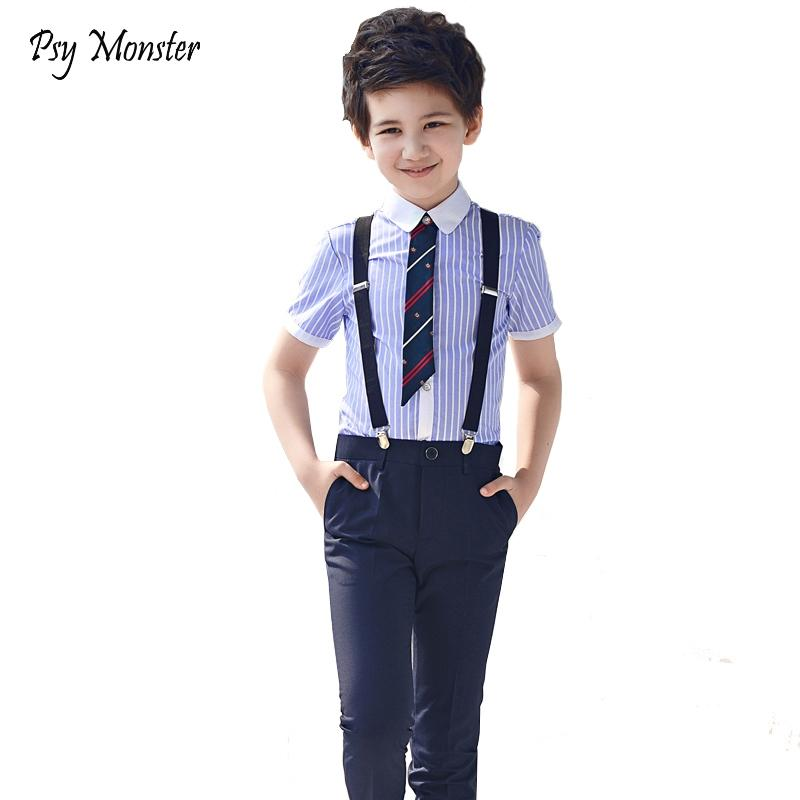 67cb2bcd18 2019 2018 Kids Girls Clothes Set Boys Formal Clothing 100% Cotton Striped Shirts  Navy Pants Outfits Campus Ceremony Chorus Costume From Breadfruiter