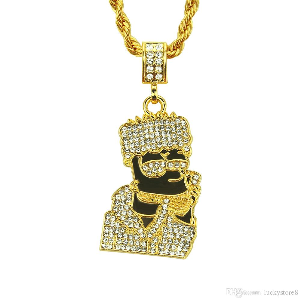 2018 New Hip Hop Men Women Cartoon Pendant Necklace Jewelry 24inch Stainless Steel Rope chain. Free shipping