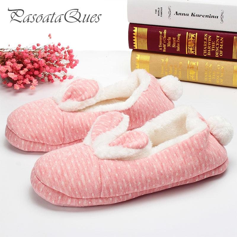 fb8ce509aa028 Cute Rabbit Home Slippers Women House Shoes Warm Winter Flats For Girls  Ladies Indoor Bedroom Cotton Soft Bottom Comfortable Shoe Boots Fur Boots  From ...