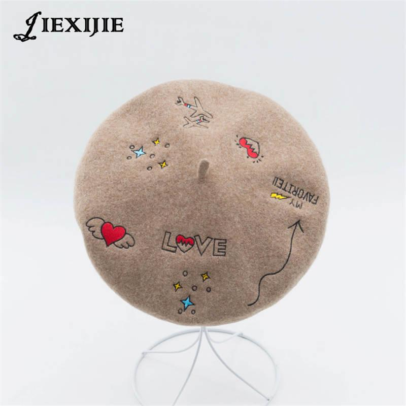 5d1c3940599 Winter Aircraft Love Pattern Embroidered Wool Beret Ladies Leisure Wild  Cartoon for Women Painter Hat Gift Female Elegant Beret Berets Cheap Berets  Winter ...