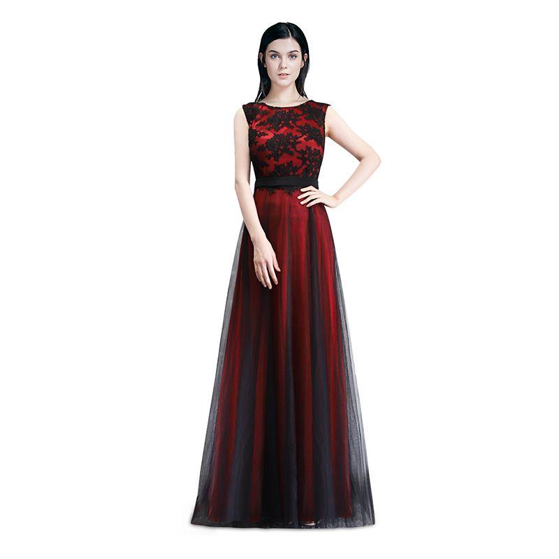 2019 Robe De Soiree Longue Elegant Black Lace Red Prom Dress Long Cheap  Appliques Chiffon Evening Gowns Vestido De Festa C18111601 From Lizhang03 92161c424