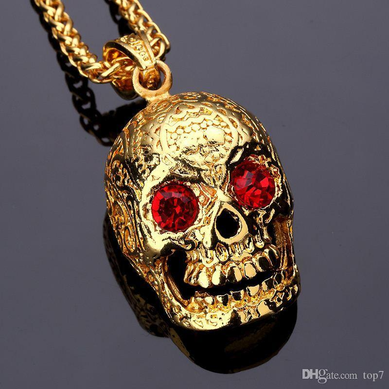 pendant steel skull skullpent punk fashion w stainless chain products