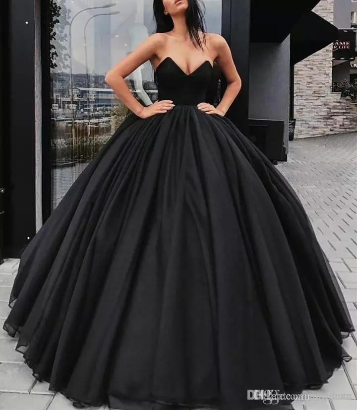 ff036a70d03 2019 Sexy Black Evening Dresses Sweetheart Satin Organza Ball Gown Prom  Dresses Sleeveless Backless Plus Size Custom Made Party Formal Gowns  Evening Dress ...