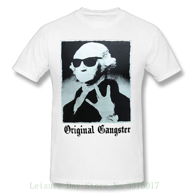 fecb4e5a Original Gangster George Washington Founding Fathers Funny Men's T-shirt  Print T Shirt Summer Style Hot