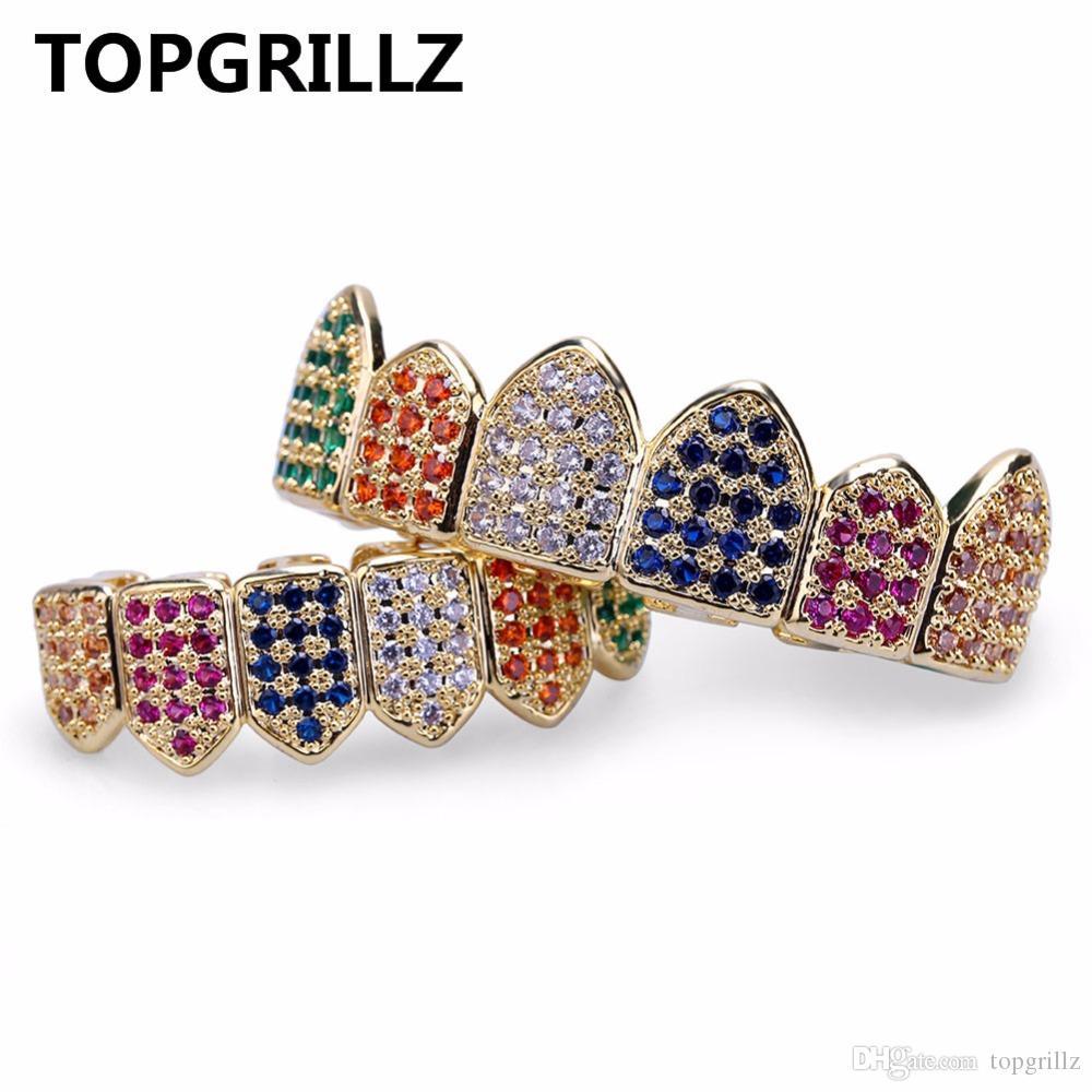 TOPGRILLZ Hip Hop Grelhador de Ouro / Prata Cor Grillz Multi Cor Micro Pavimentar CZ Que Bling Cubic Zircon Top Inferior Dentes Grillzs