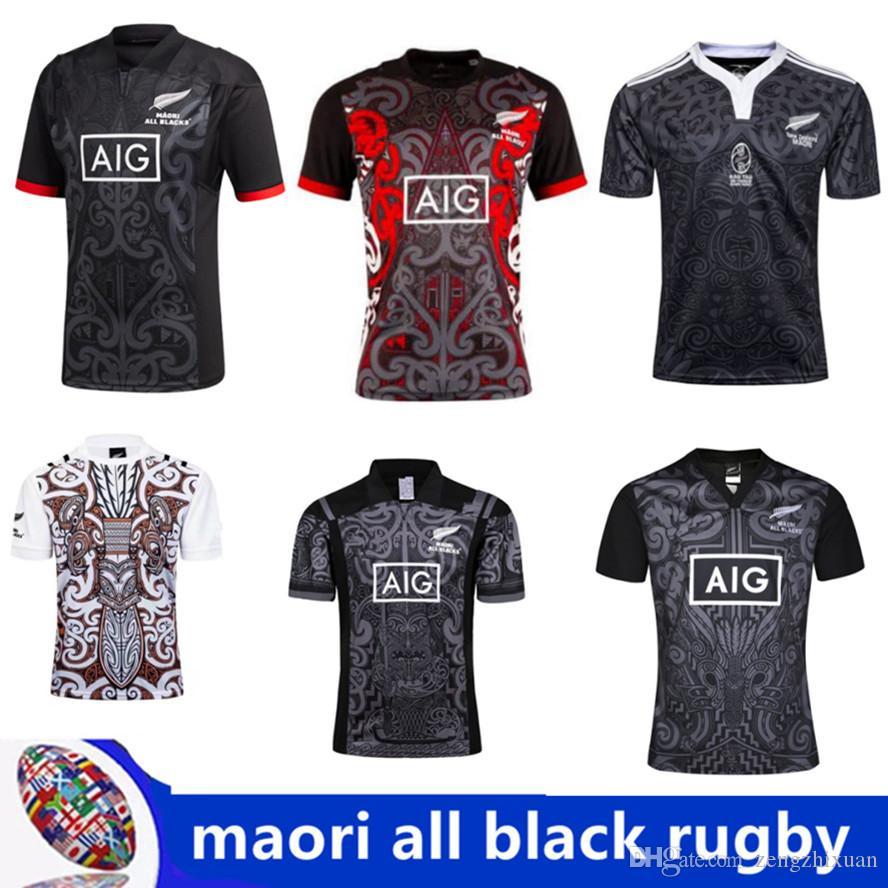 cheap for discount 181e3 733f6 Acheter 20182019 Maori All Blacks Jersey 2018 Tout Noir 2018 Maison Loin  Des Hommes Rouges Maillots De Rugby NZ Noirs Maori 100e Édition Spéciale  Maillots ...