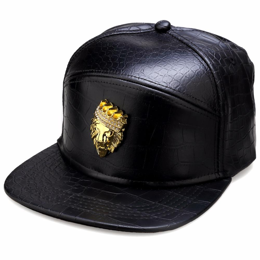 fe8523721 New Luxury Mens Hip Hop Golden Rhinestone Lion Head Logo Baseball Caps PU  Leather Casual Unisex sun Hats Gold/Black Snapback