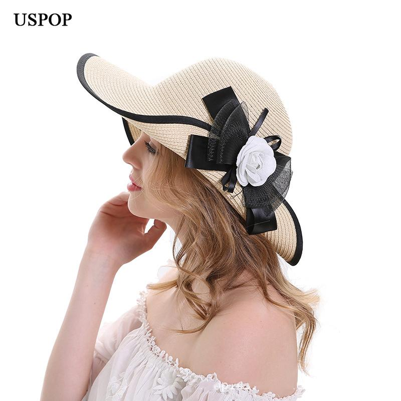 USPOP 2018 New Design British Style Women Summer Straw Sun Hat Wide Brim  Flower Sun Hat Casual Women Bow Knot Beach Hats Hat Shop Hat Styles From  Ancient88 e321c472953