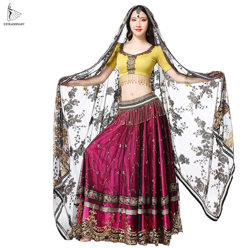 d311b38f9 Mujeres Indian Belly Dance Carnival Sari bordado a mano traje Set 4 PCS Top  cinturón falda trajes Sari rendimiento
