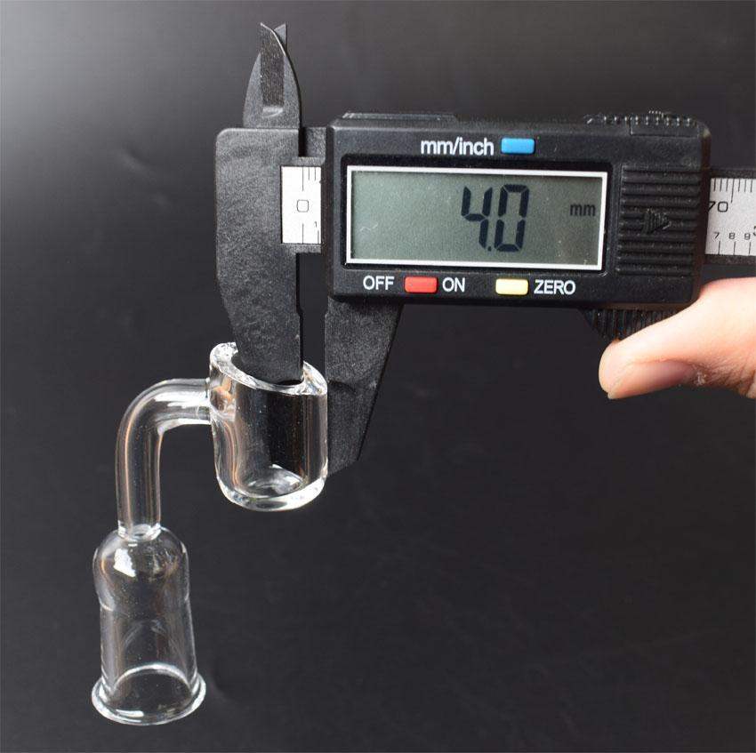 4 mm d'épaisseur 10 mm 14 mm 18 mm Quartz ongles 45/90 degrés 100% Pure Quartz Banger ongles Nail Domeless
