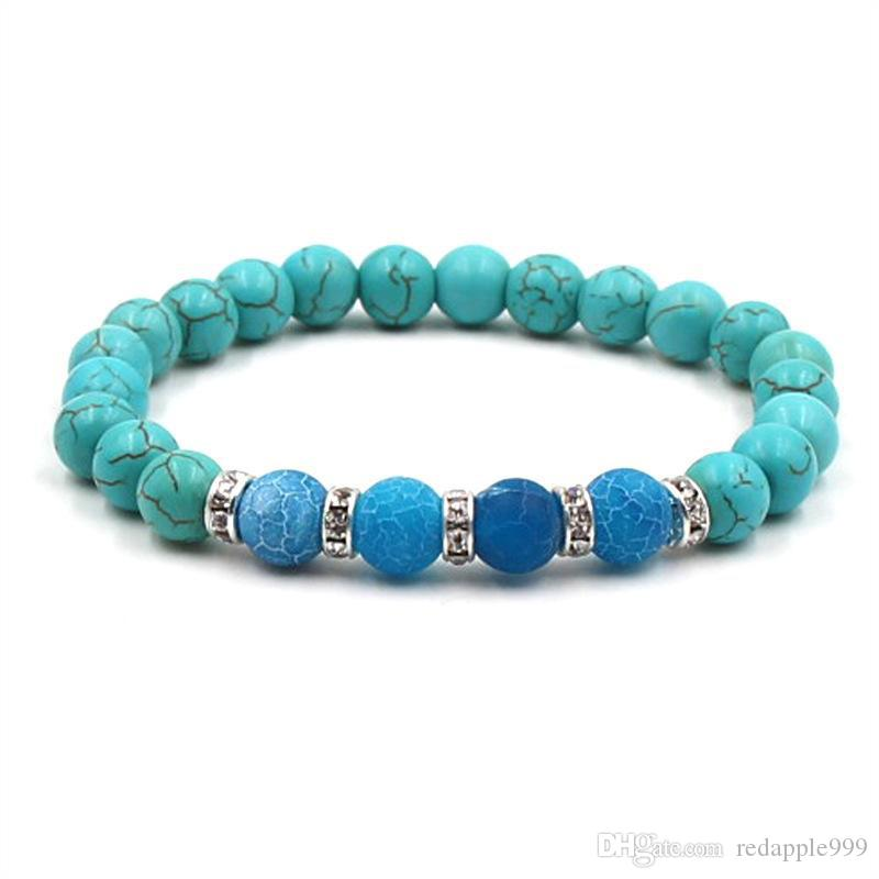 8mm Turquoise Stone Beads Elastic Bracelet Crystal Spacer Tiger's Eye stone Hand Strings Jewelry