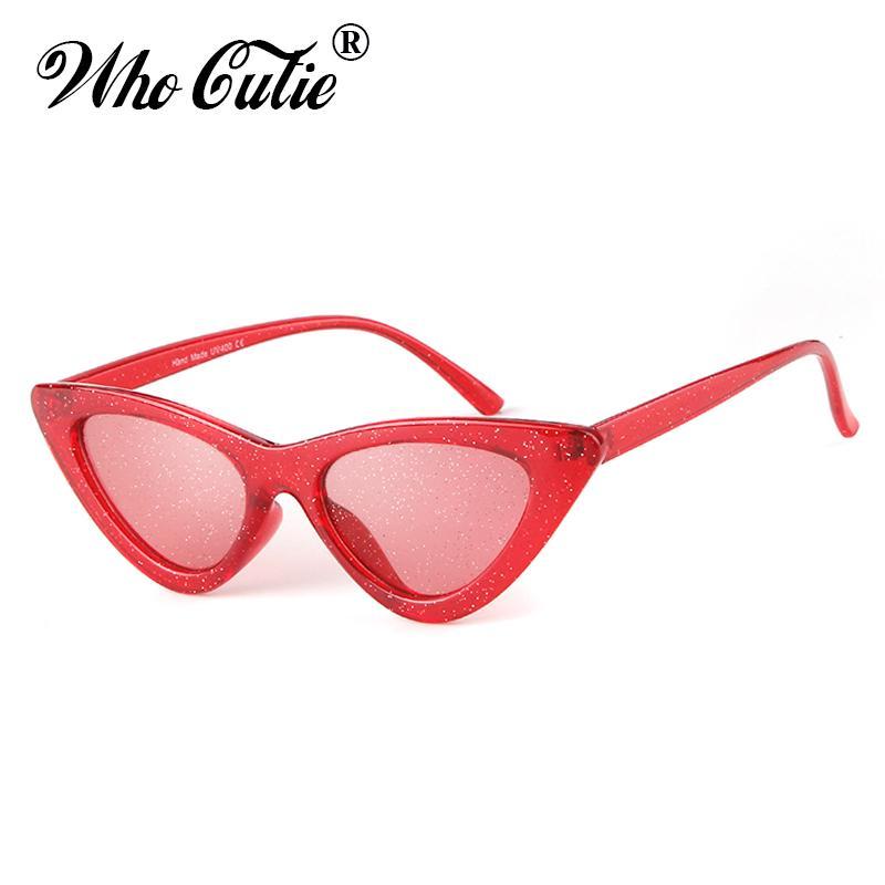 f5c94ae956f3 WHO CUTIE Glitter Cat Eye Sunglasses Women Brand Designer 2018 Vintage  Retro Bling Shiny Crystal Cool Cateye Sun Glasses OM698 Prescription Glasses  Online ...