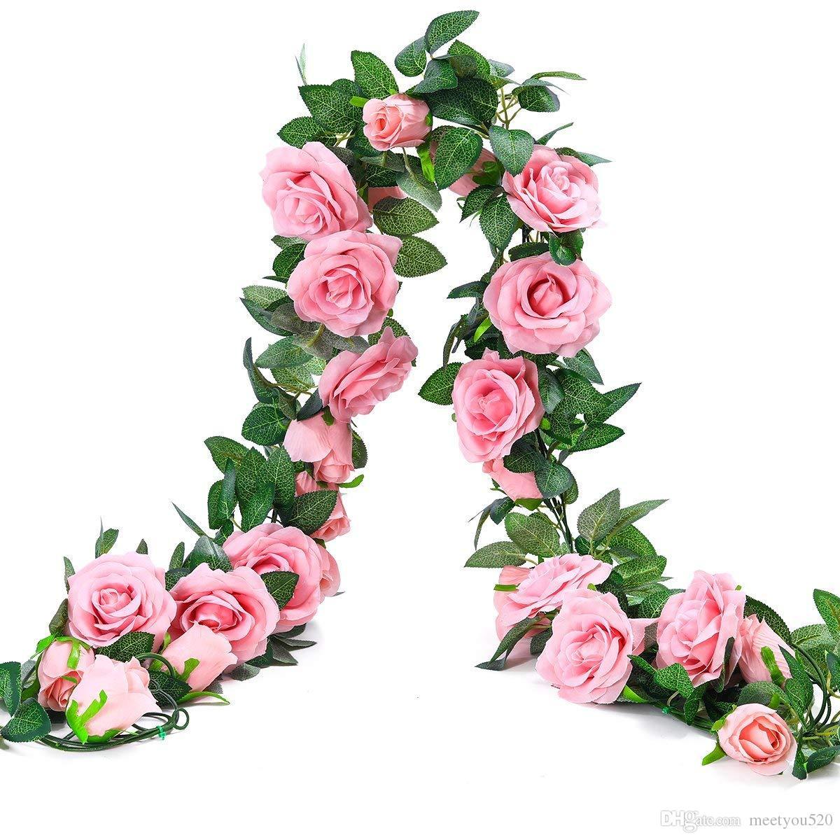 2018 65ft Artificial Rose Vine Silk Flower Garland Hanging Baskets