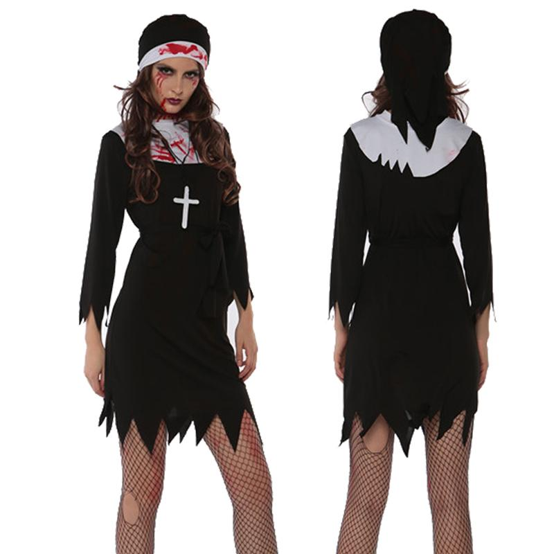 Adult Women Halloween Scary Zombie Mary Nun Costume Short Black