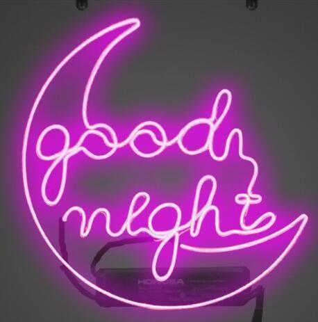 Custom New Good Night Moon Real Glass Neon Sign light Beer Bar Sign Send  need photo 19x15