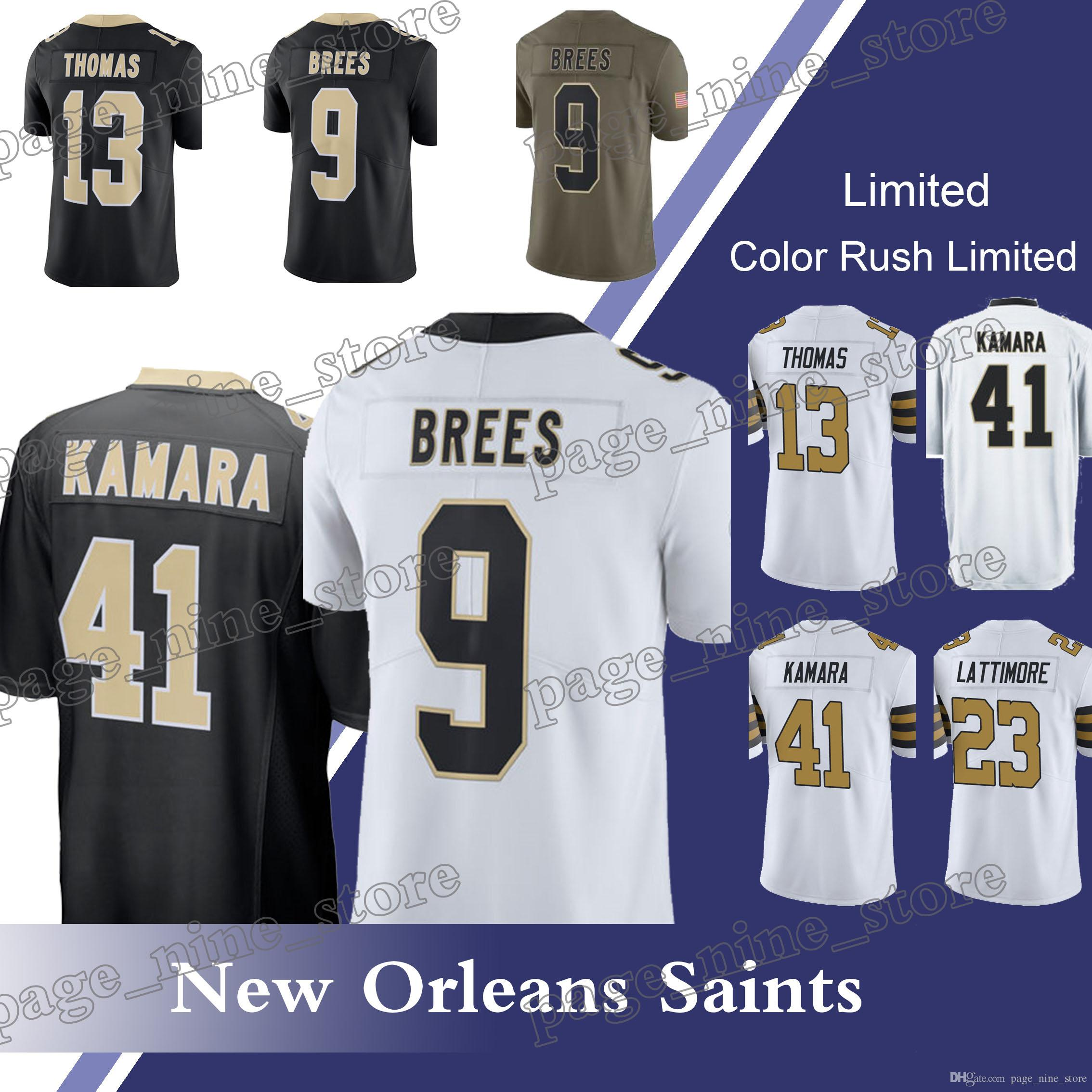 official store new orleans saints 41 alvin kamara 9 drew brees 13 michael  thomas 23 marshon 68427df51