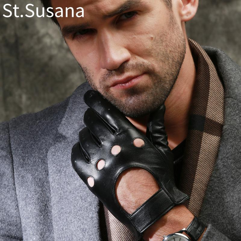 St.Susana 2018 Autumn Winter Black Genuine Sheepskin Leather Fashion MaleTouch Screen Gloves Men Cool Driving Gloves Mittens