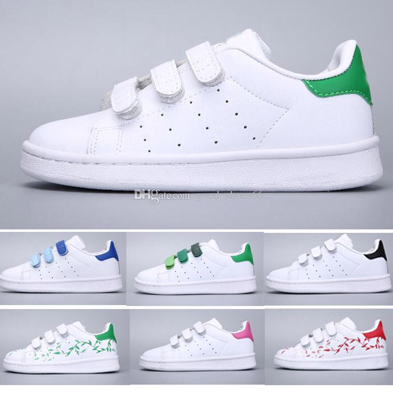 hot sale online e1d04 73404 Compre Adidas Stan Smith Superstar Marca Niños Superstar Zapatos Original  Oro Blanco Bebé Niños Superstars Sneakers Originales Super Star Niñas Niños  ...