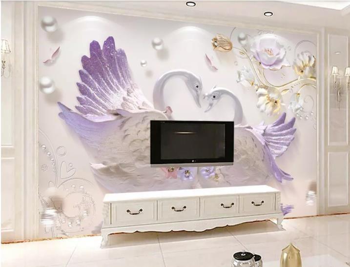 Großhandel Tapete Modern Custom 3d Home Wallpaper Geprägte Schwan Tv ...