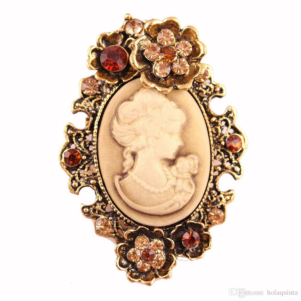 Fashion Antique Gold Silver Vintage Brooch Pins Female Jewelry Queen Cameo  Brooches Rhinestone For Women Christmas Gifts