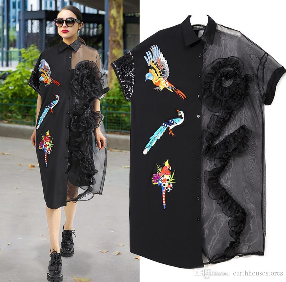 52d9d86a New 2018 Summer Women Black Mesh Shirt Dress Plus Size Ruffle Bird  Embroidery Big Size Girls Sheer Midi Dress Party Dresses White Dress  Cocktail Party ...