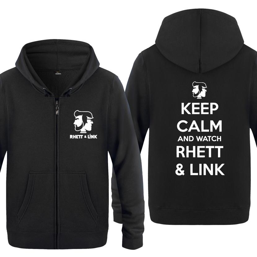 Keep Calm And Watch Rhett Link Novelty Hoodies Men 2018 Men's Fleece Zipper Cardigans Hooded Sweatshirts