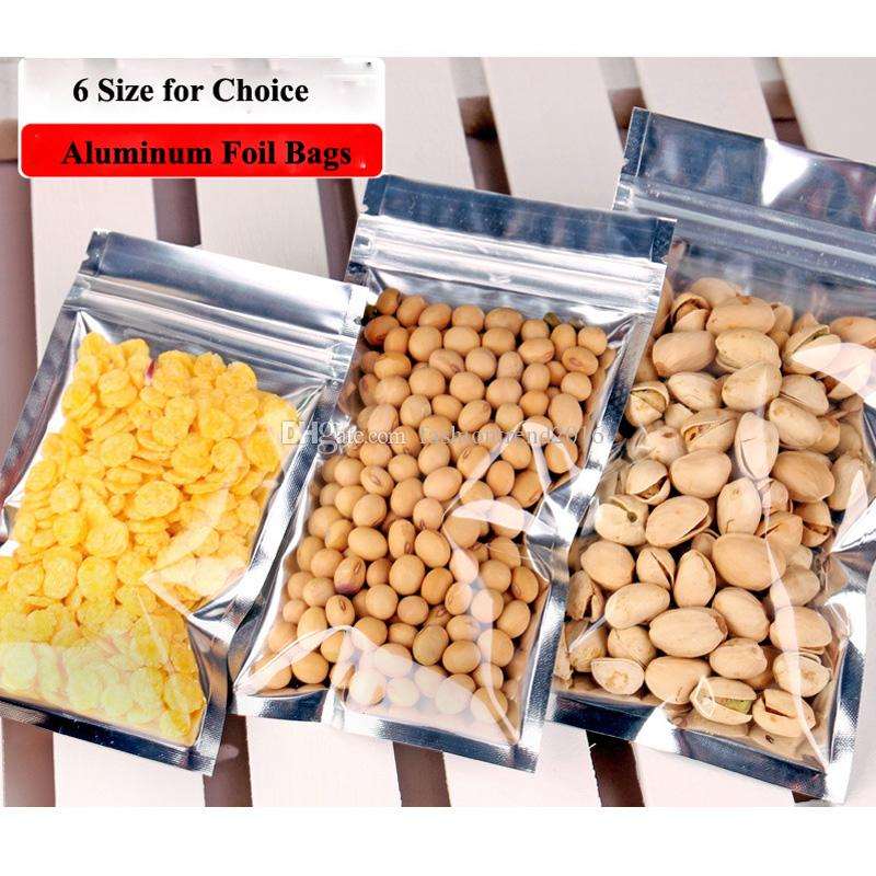 6 Size Reusable Plastic ZipLock Bags Clear Self-sealed Pouches Zipper Bags Aluminum Foil Retail Package for Candy Nut Biscuit Snack