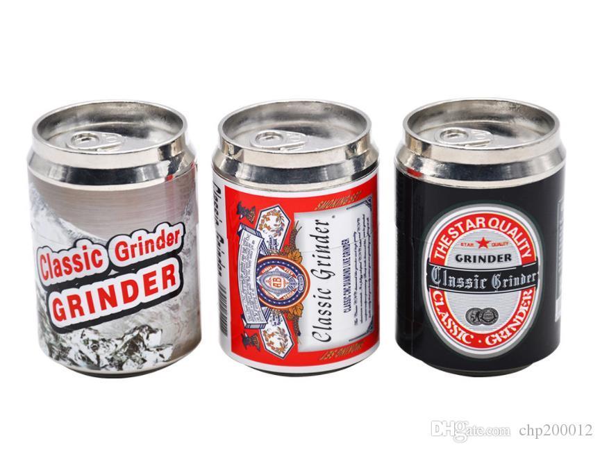 Gran tamaño de cuatro capas de metal máquina de lapeado personalidad creativa triturador de cigarrillos botella de cerveza de metal encendedor de cigarrillos