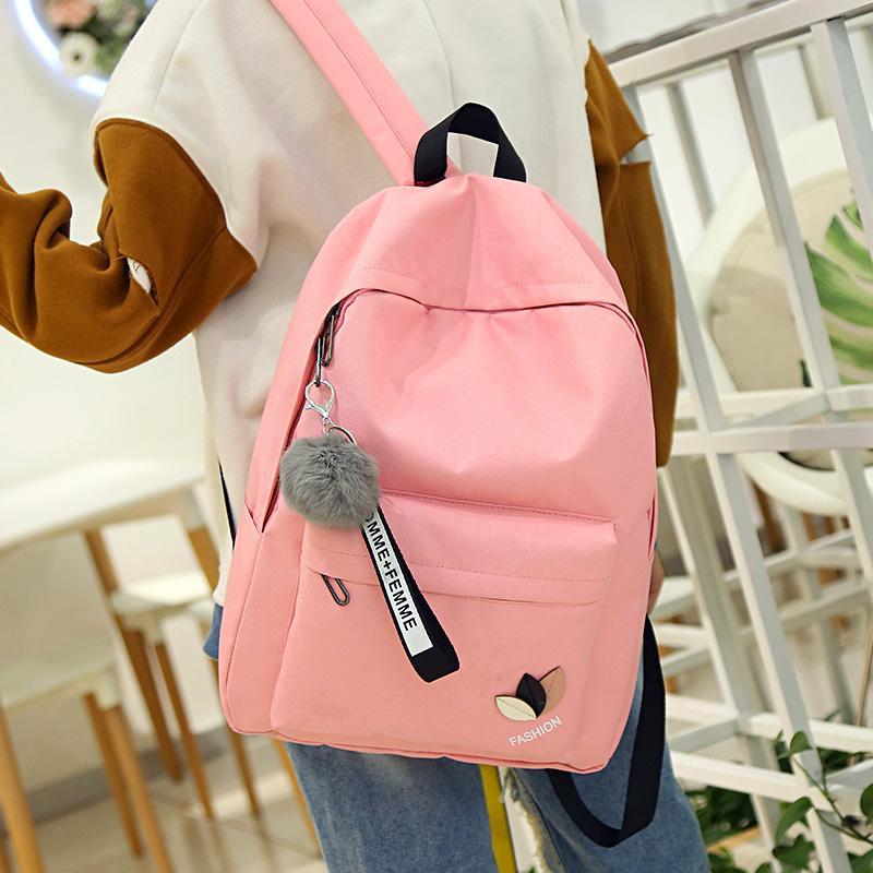 31cbb32ac9 Pink Print Letter School Backpack Women School Bag Back Pack Leisure Korean  Ladies Knapsack Laptop Travel Bags For Teenage Girls Backpacks For Women ...