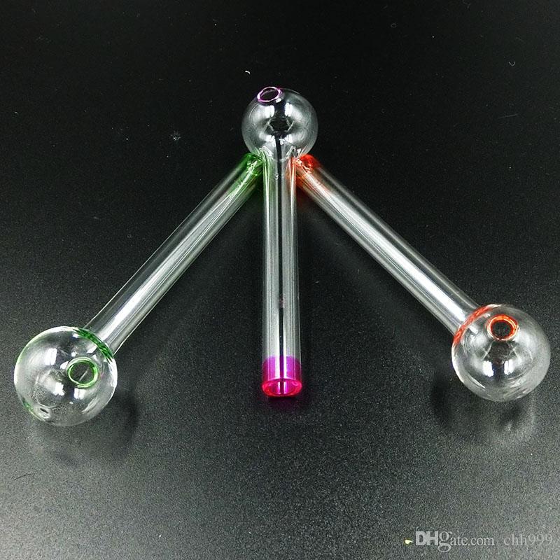 Los tubos coloreados de Pyrex del quemador de aceite de cristal con 11cm burbujean quemadores de aceite de grueso para fumar la pipa de cristal barata de la mano