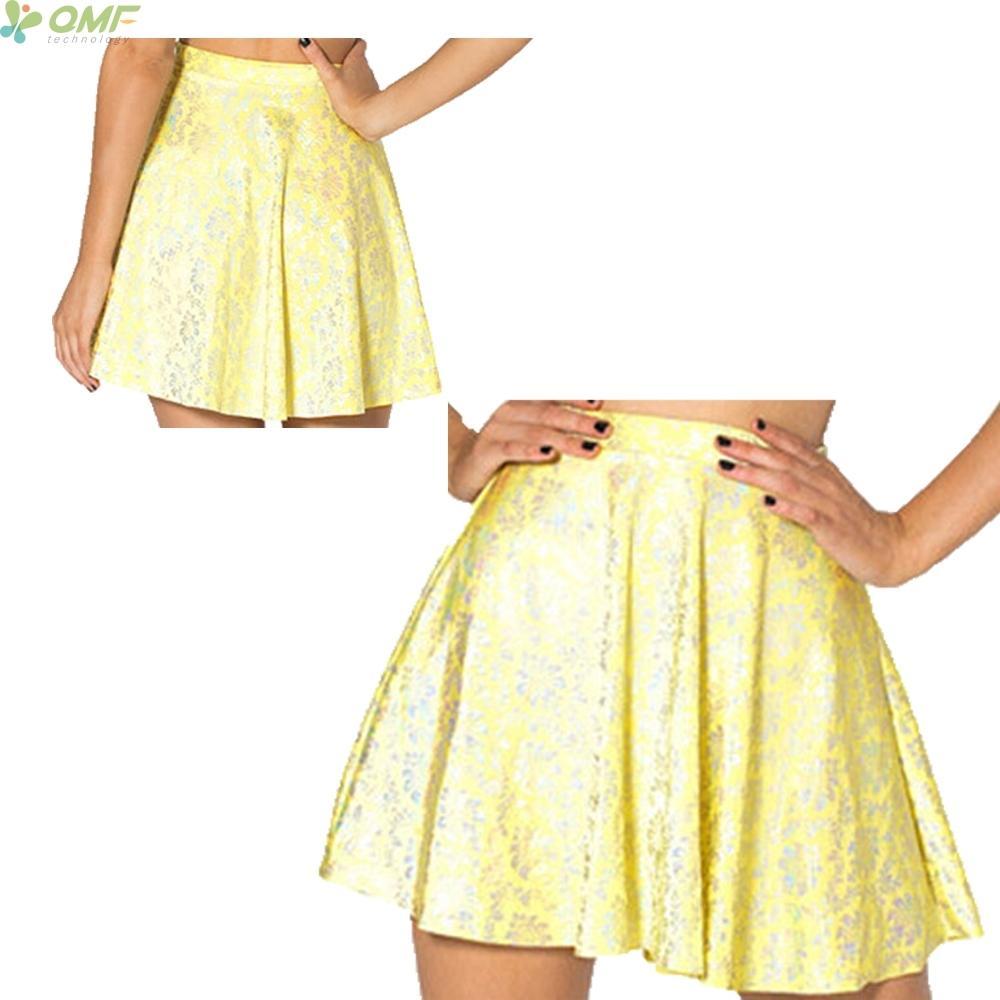 04a65d032 Amarillo Retro Flor Totem Señoras Pantalones cortos Faldas Popular Vintga  Moda TuTu Midiskirt Casual Mini Falda Falda para todo el año