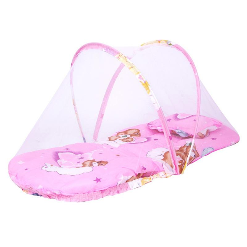 Pink/blue 2018 New Baby Mosquito Bed Net Infants Sleeping Pad Pillow Yurt Bedspread Mosquito Net Collapsible Portable Crib Netting