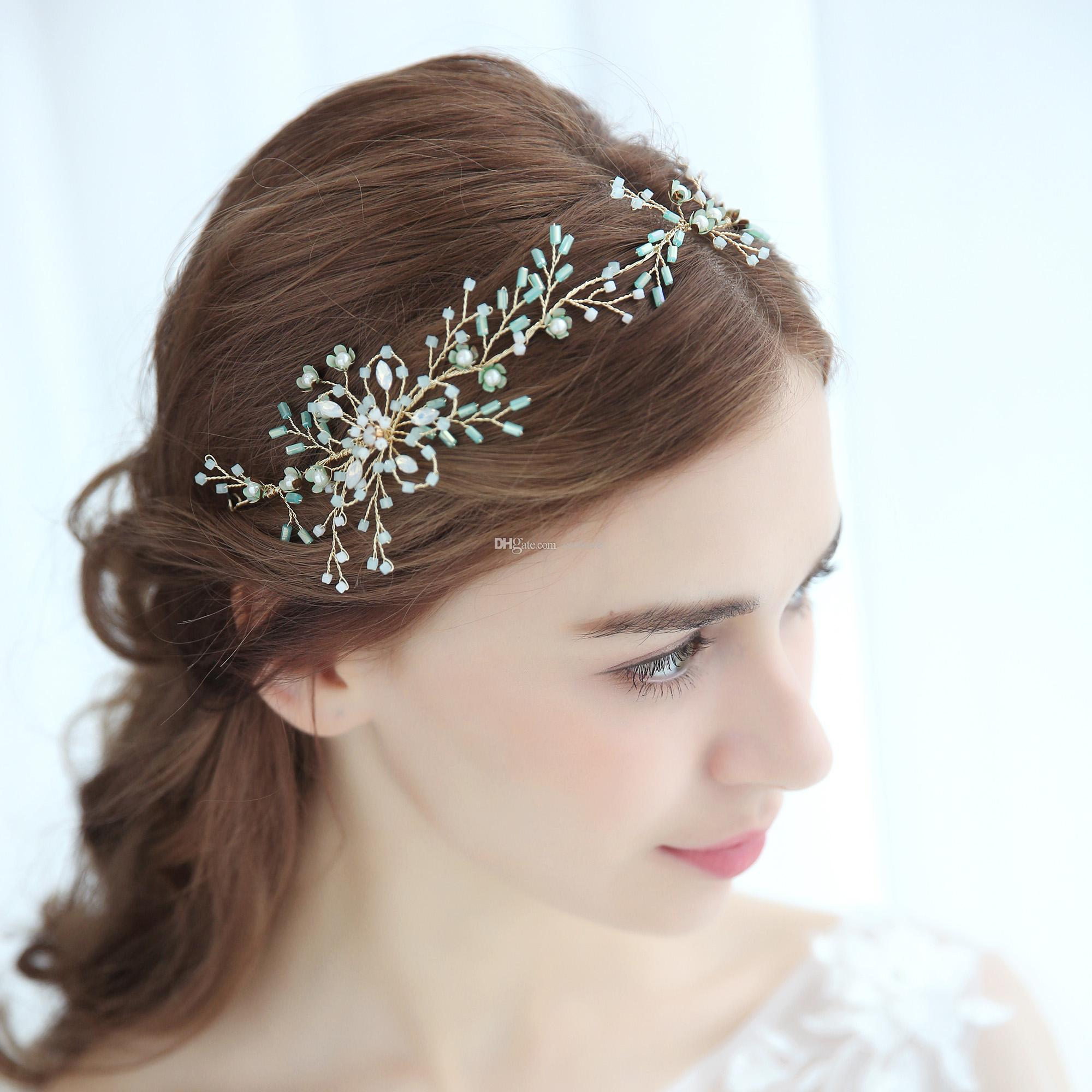 Flower Wedding Headpieces: Baby Blue Hair Vine Bridal Headpiece Ethereal Crystal