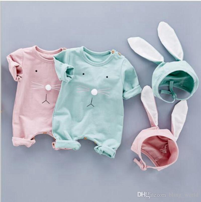 2ffe1afb9c880 Baby Romper Hat Set Boy Girls INS Bunny Ears Jumpsuit Children Long Sleeve  Rabbit Rompers Toddler Cute Onesies Designer Kids Clothes YL791