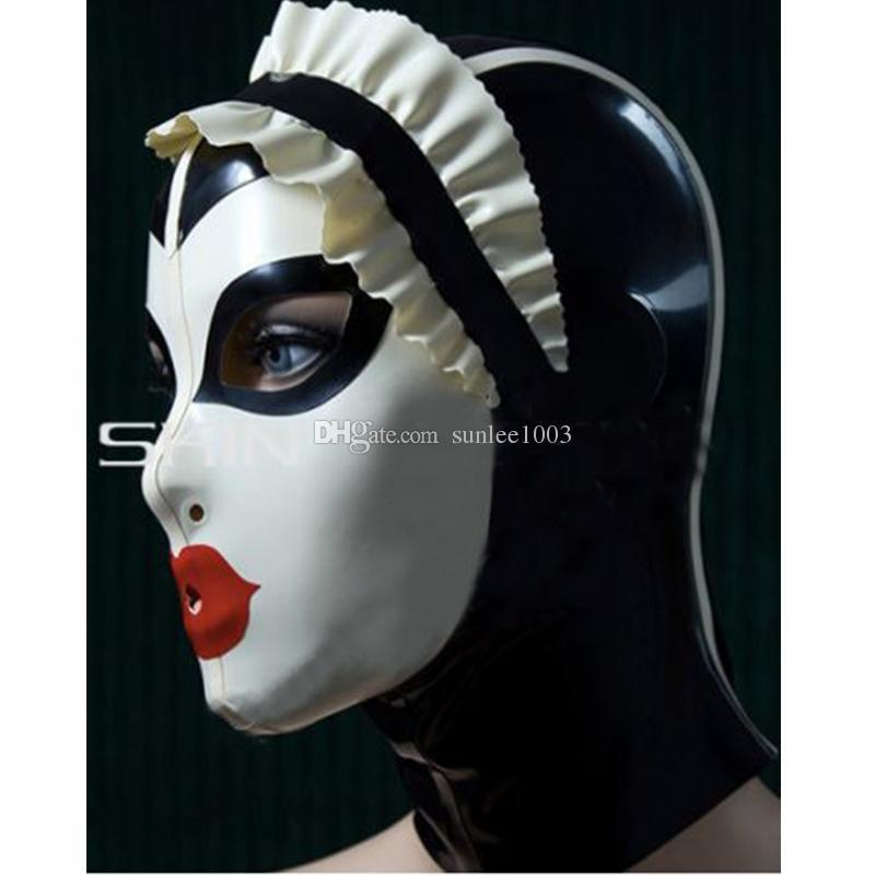 Yeni Seksi kadınlar El Yapımı Özelleştirilmiş Lateks Cosplay hizmetçi Davlumbaz eklenmiş renk Sıcak Fetiş Maske Kahraman kadın maske Şapka Zentai