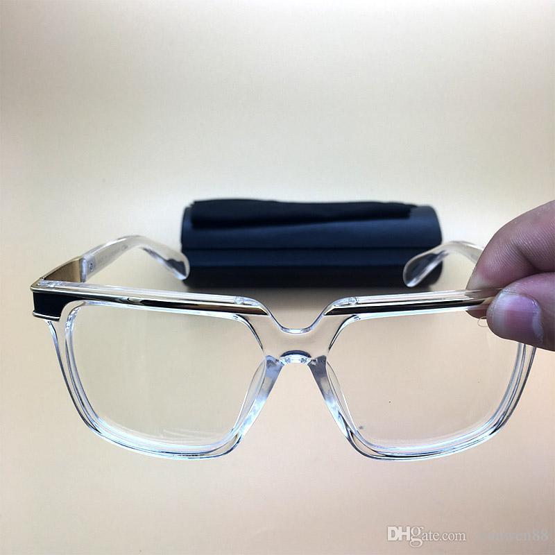 Clear Frame Mens Womens Sunglasses Plank Acetate Eyeglasses Vintage ...