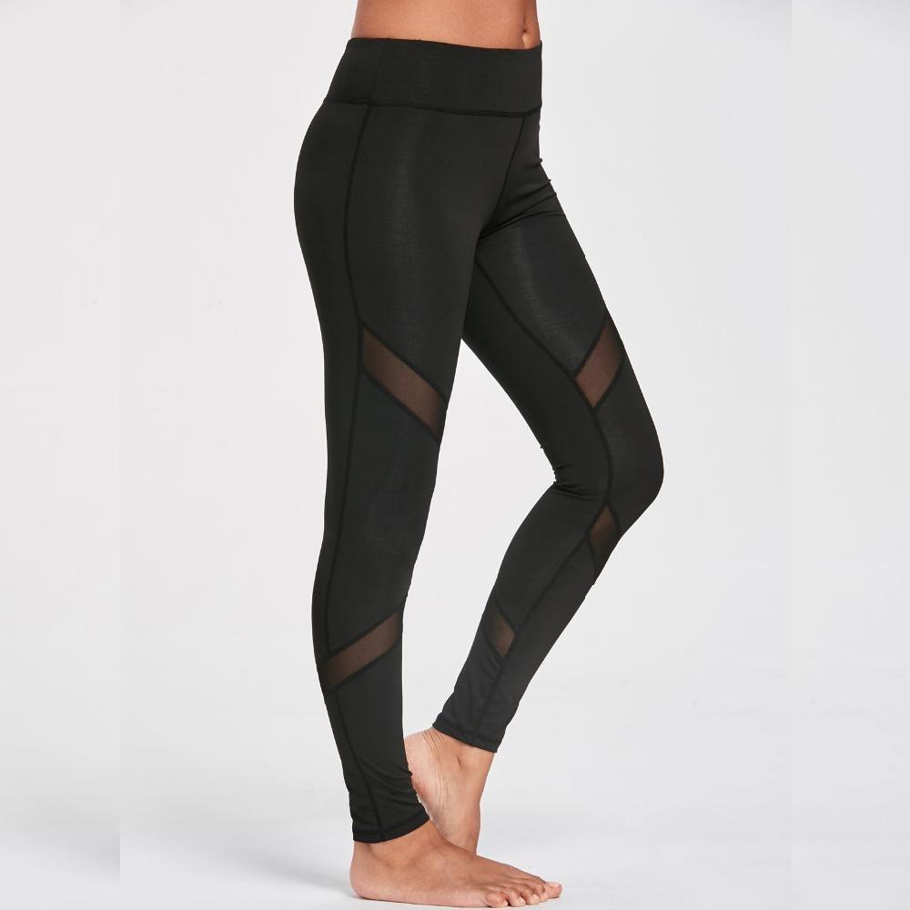 7f56efbada3ba8 2019 2017 Women Casual Leggings Fitness Winter Leggings New Arrival Ladies  Plain Elastic Waist Color Block Mesh Insert Leggings From Bibei08, ...