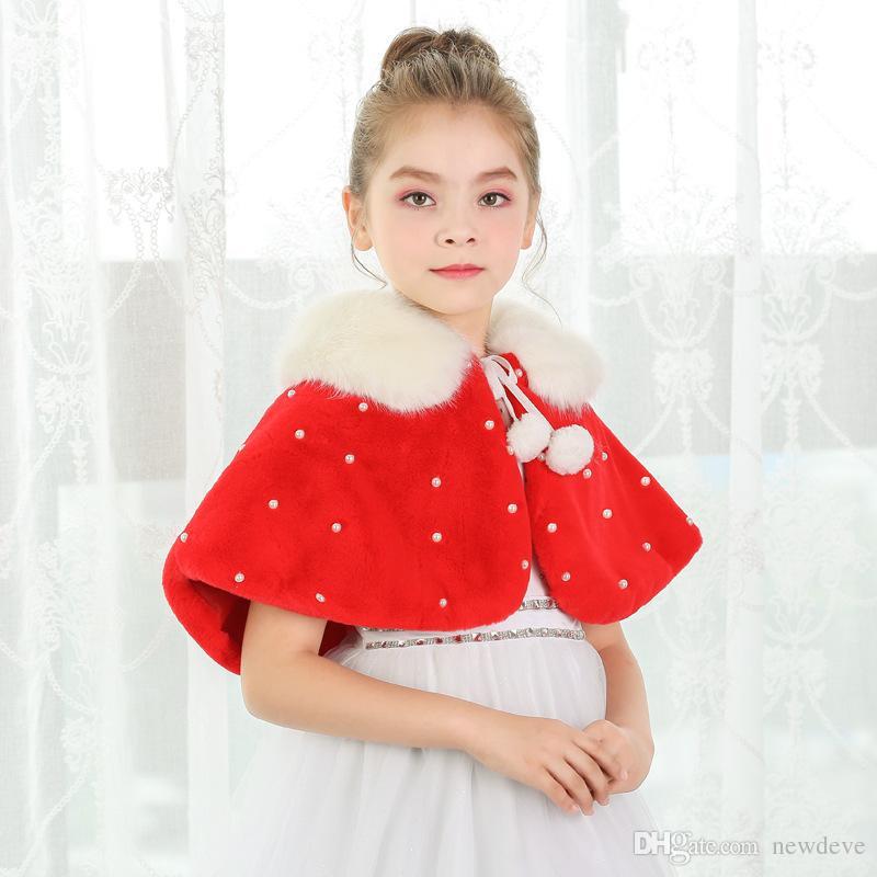 2020 Red Cony filles Hair Capes et Vestes d'Ivoire Flower Girl Accessoires Perles Réchauffez filles Manteau de fourrure Livraison gratuite