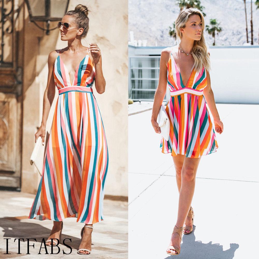 f64b6b33b Compre Vestido Largo De Rayas De Verano Para Mujer Vestido De Noche Vestidos  De Playa Vestido De Fiesta Vestido De Playa Sin Espalda Con Cuello En V Sin  ...