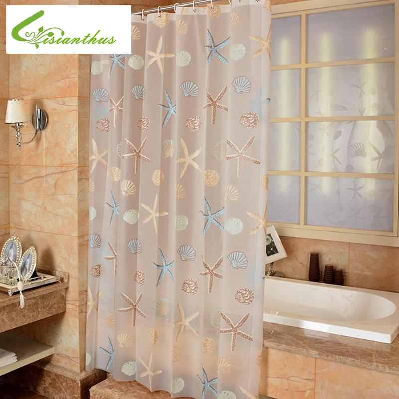 New WaterProof Bath Curtain Starfish Shell Pattern Home Curtains Bathroom Shower PEVA Fabric 6 Size UK 2019 From Hariold 2957