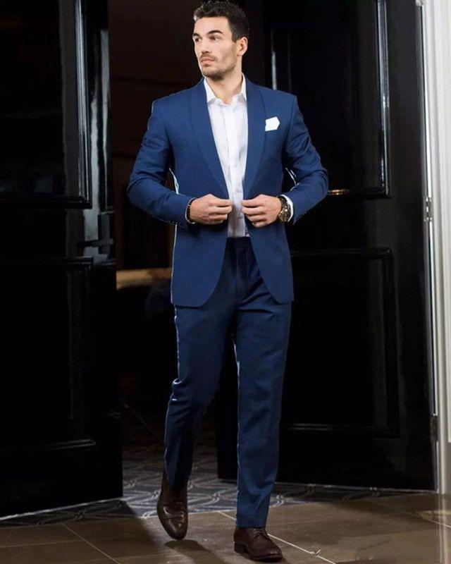 Barato de dos piezas de moda Royal Blue Men trajes de boda por encargo Slim Fit Padrinos de boda Tuxedos un botón traje de novio chaqueta + pantalones