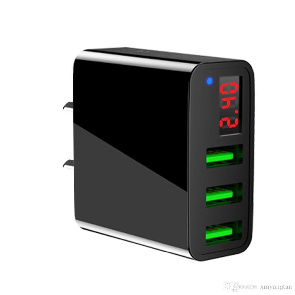 Taşınabilir 3 USB Port Telefon Duvar Şarj Adaptörü Ile LED Ekran AB / ABD Plug Akıllı Hızlı Şarj iphone iPad Samsung Xiaomi